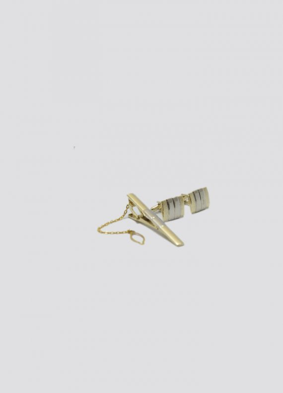 Gold & Silver Pin and Cufflink Set