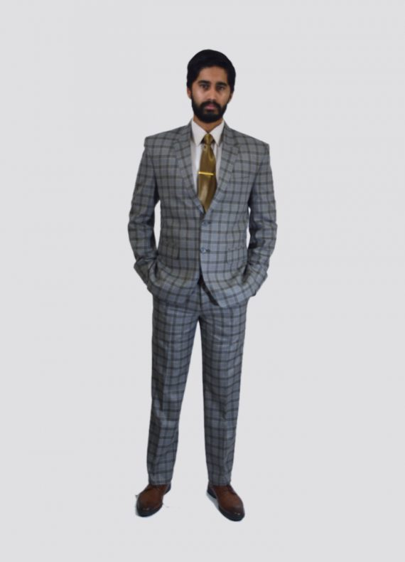 Beige Checkered Slim Fit Suit